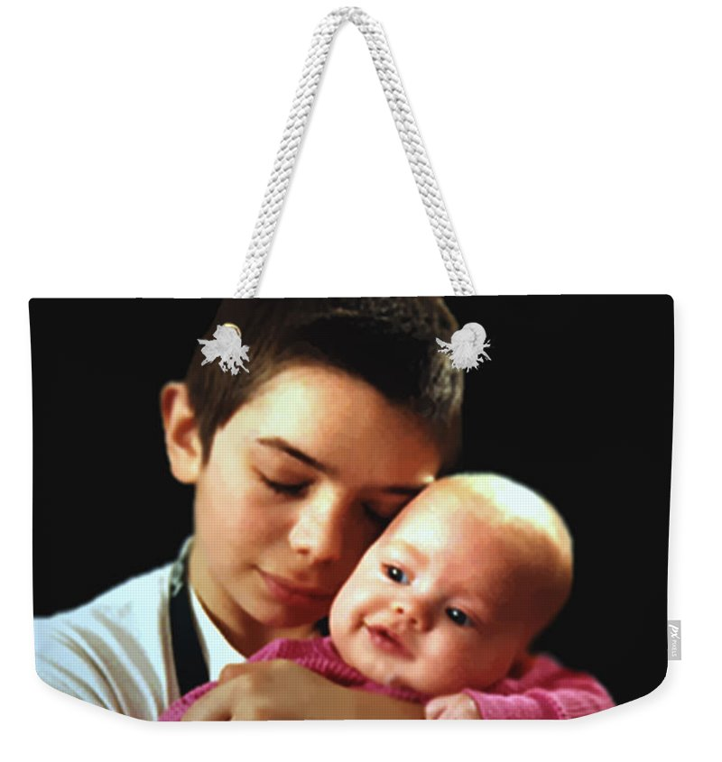 Children Weekender Tote Bag featuring the photograph Boy With Bald-headed Baby by RC DeWinter