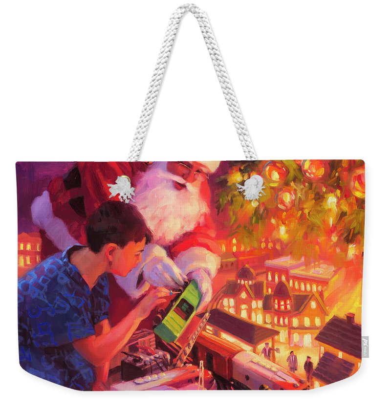 Santa Weekender Tote Bag featuring the painting Boys And Their Trains by Steve Henderson