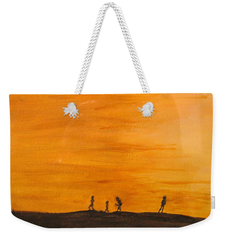 Boys Weekender Tote Bag featuring the painting Boys At Sunset by Ian MacDonald