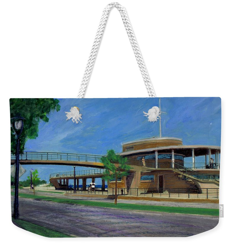 Miexed Media Weekender Tote Bag featuring the mixed media Bradford Beach House by Anita Burgermeister