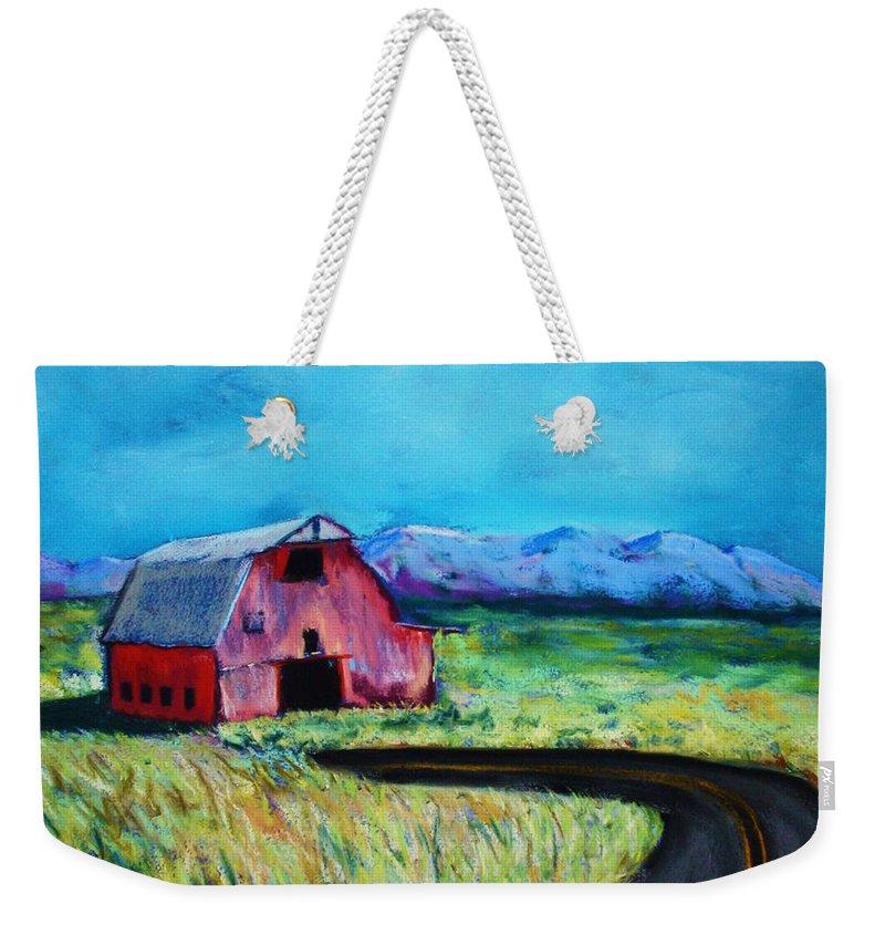 Barn Weekender Tote Bag featuring the pastel Bradley's Barn by Melinda Etzold