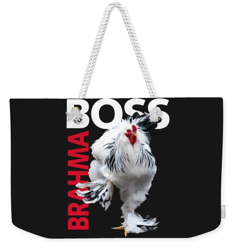 Light Brahma Weekender Tote Bag featuring the digital art Brahma Boss II T-shirt Print by Sigrid Van Dort