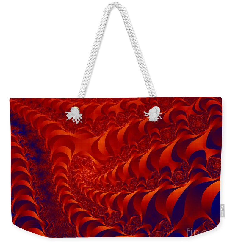 Fractal Art Weekender Tote Bag featuring the digital art Braided Red by Ron Bissett