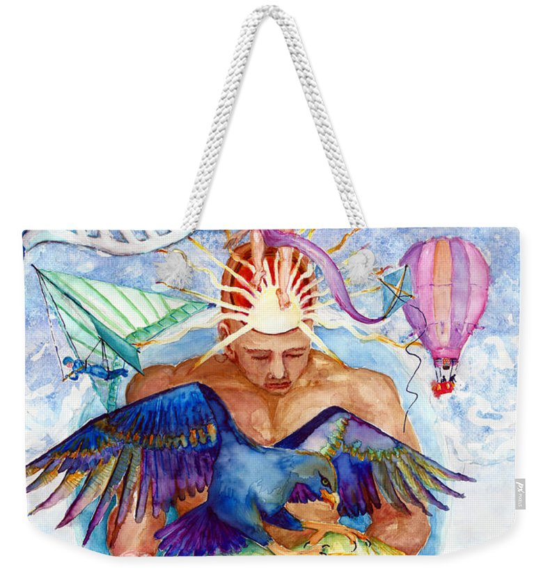 Brain Child Weekender Tote Bag featuring the painting Brain Child by Melinda Dare Benfield
