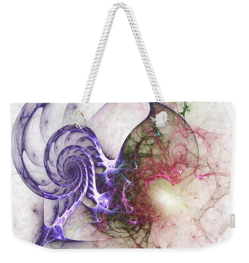 Abstract Weekender Tote Bag featuring the digital art Brain Damage by Casey Kotas