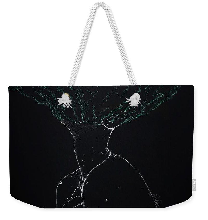 Girl Weekender Tote Bag featuring the drawing Brain Storm by Danyel Poindexter
