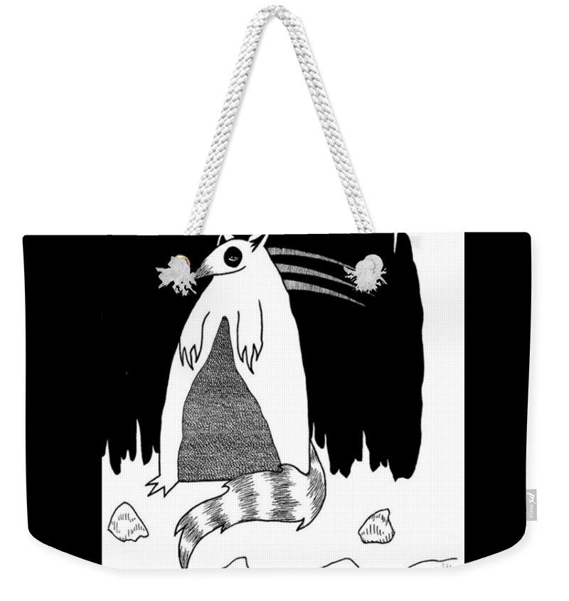 Cave Weekender Tote Bag featuring the digital art Brains Brewing Noon Raccoon Design By Warwickart by Beth Scannell