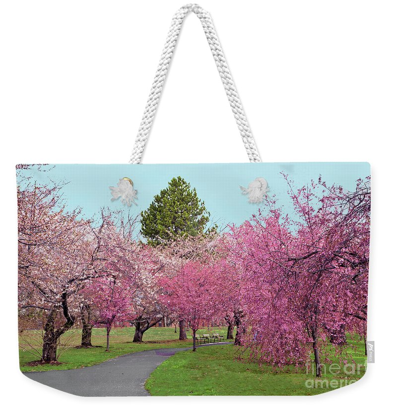 Branch Brook Park Cherry Blossoms Weekender Tote Bag featuring the photograph Branch Brook Cherry Blossoms II by Regina Geoghan