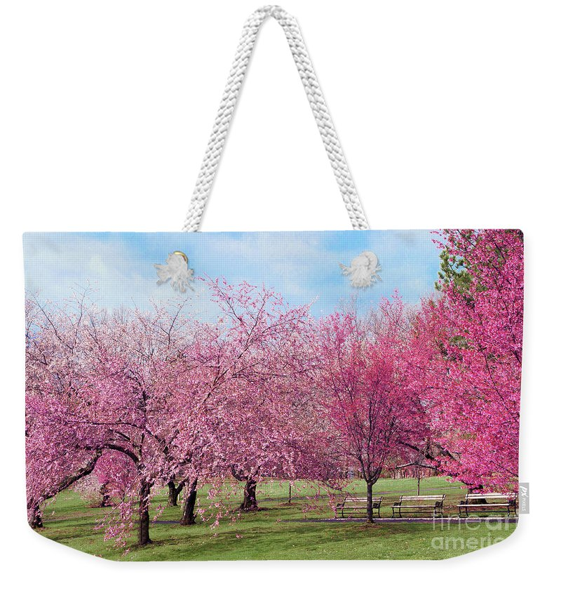 Branch Brook Park Cherry Blossoms 2013 Weekender Tote Bag featuring the photograph Branch Brook Cherry Blossoms by Regina Geoghan