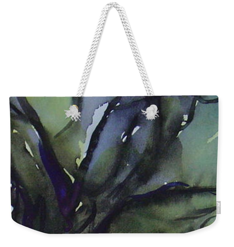 Tree Landscape Abstract Watercolor Original Blue Green Weekender Tote Bag featuring the painting Branching by Leila Atkinson