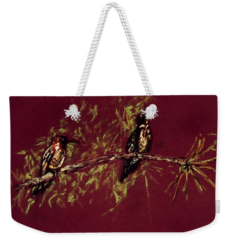 Humming Birds Weekender Tote Bag featuring the drawing Branching Out by Cori Solomon