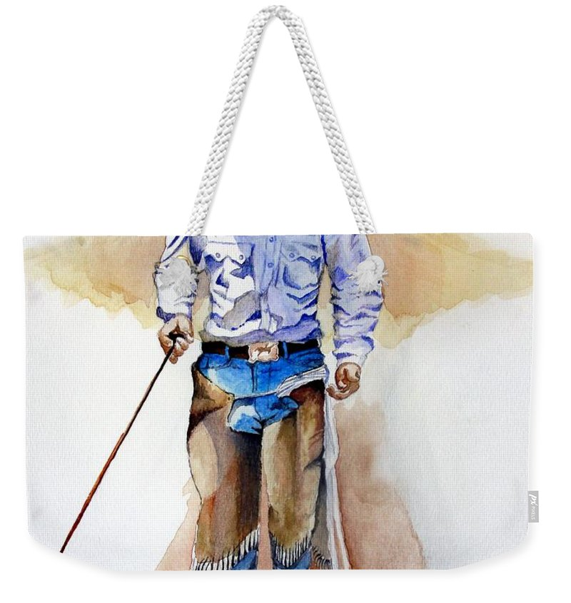 Western Weekender Tote Bag featuring the painting Branding Blisters by Jimmy Smith