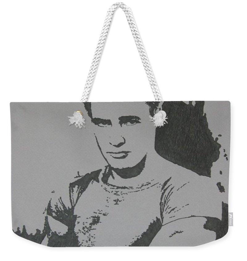 Marlon Brando Weekender Tote Bag featuring the drawing Brando by Lynet McDonald