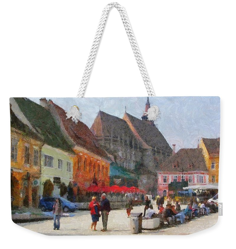 Shop Weekender Tote Bag featuring the painting Brasov Council Square by Jeffrey Kolker