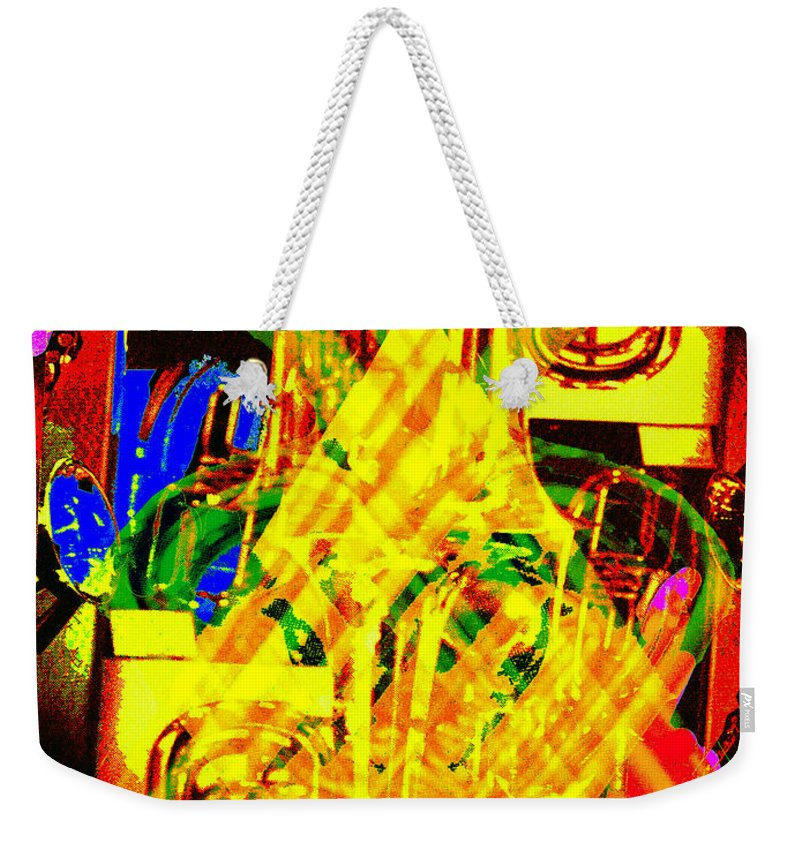 Festive Weekender Tote Bag featuring the digital art Brass Attack by Seth Weaver