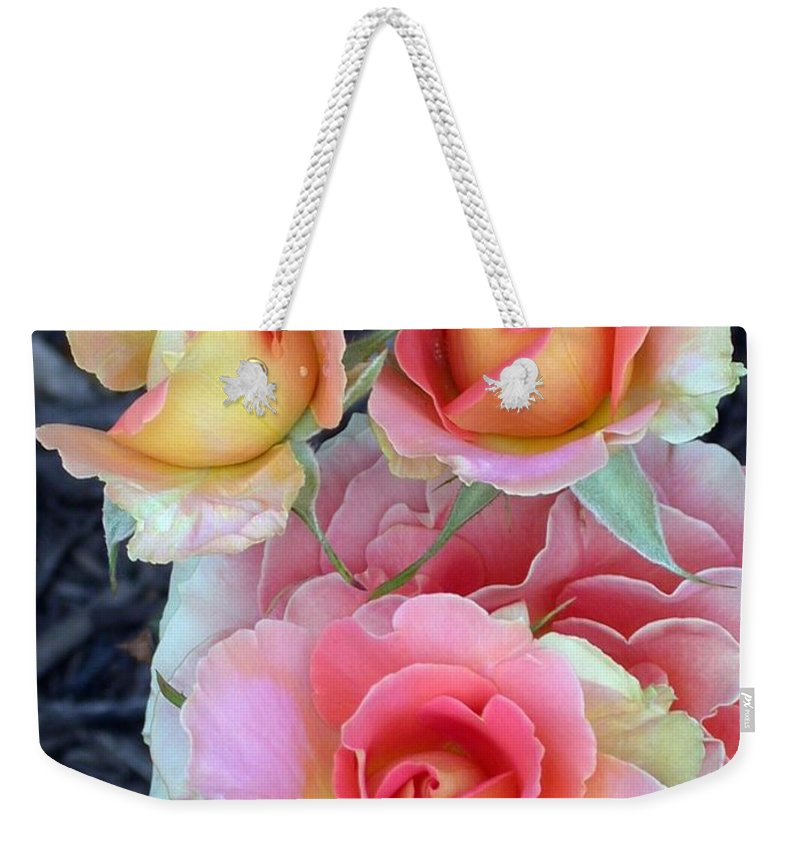 Brass Band Roses Weekender Tote Bag featuring the photograph Brass Band Roses by Living Color Photography Lorraine Lynch