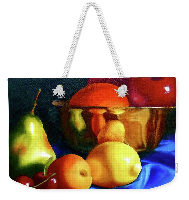 Still Llife Weekender Tote Bag featuring the painting Brass Ensemble by Susan A Becker
