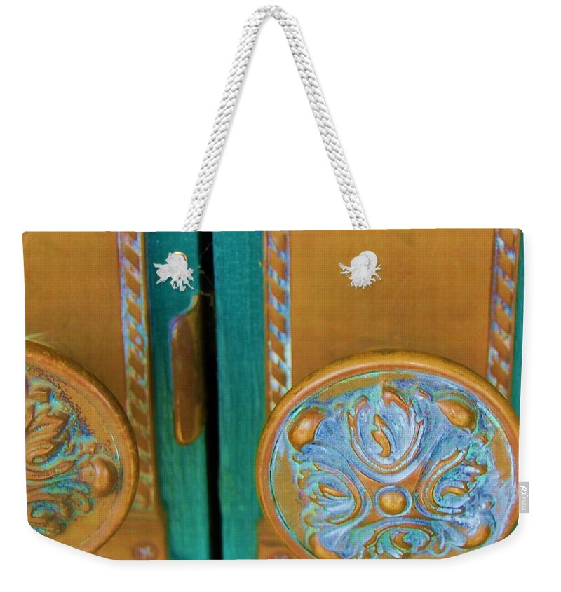 Door Weekender Tote Bag featuring the photograph Brass Is Green by Debbi Granruth