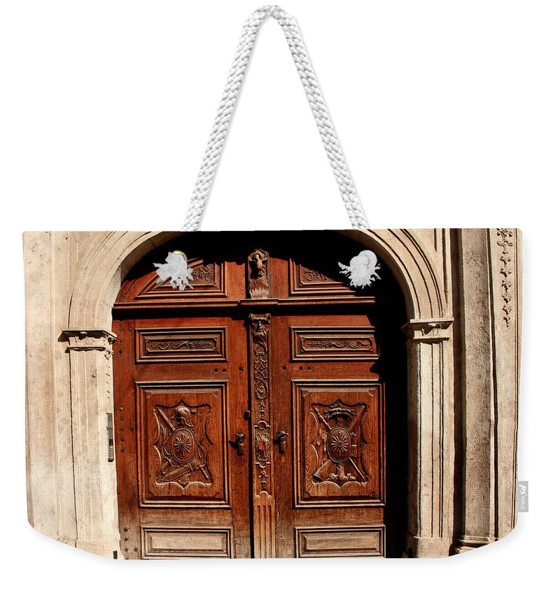 Doors Weekender Tote Bag featuring the photograph Bratislava Doors by Thomas Marchessault