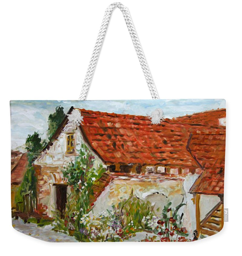 Landscape Weekender Tote Bag featuring the painting Bratri Truhlari by Pablo de Choros