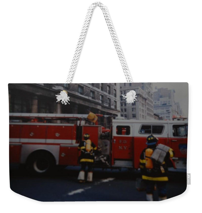 Fdny Weekender Tote Bag featuring the photograph Bravest Of The Brave by Rob Hans