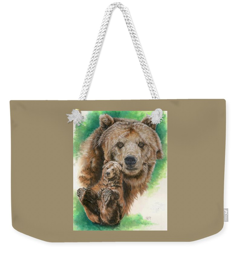 Bear Weekender Tote Bag featuring the mixed media Brawny by Barbara Keith