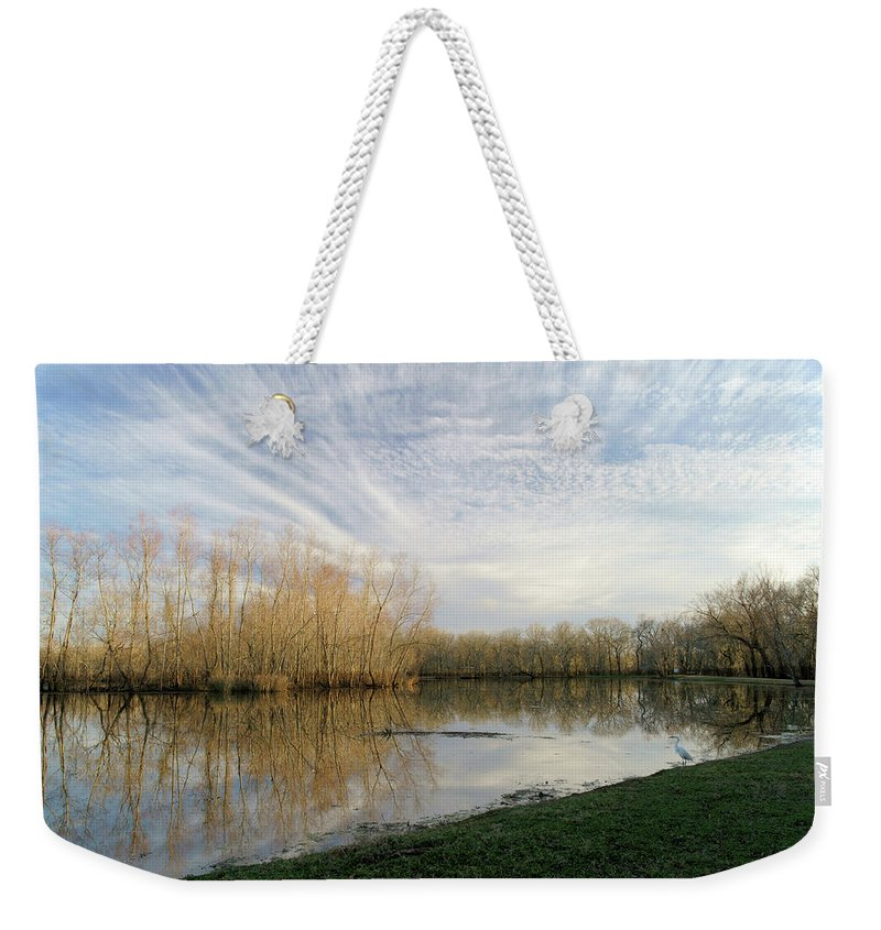 Texas Wildlife Weekender Tote Bag featuring the photograph Brazos Bend White Egret Solitude by Katrina Lau