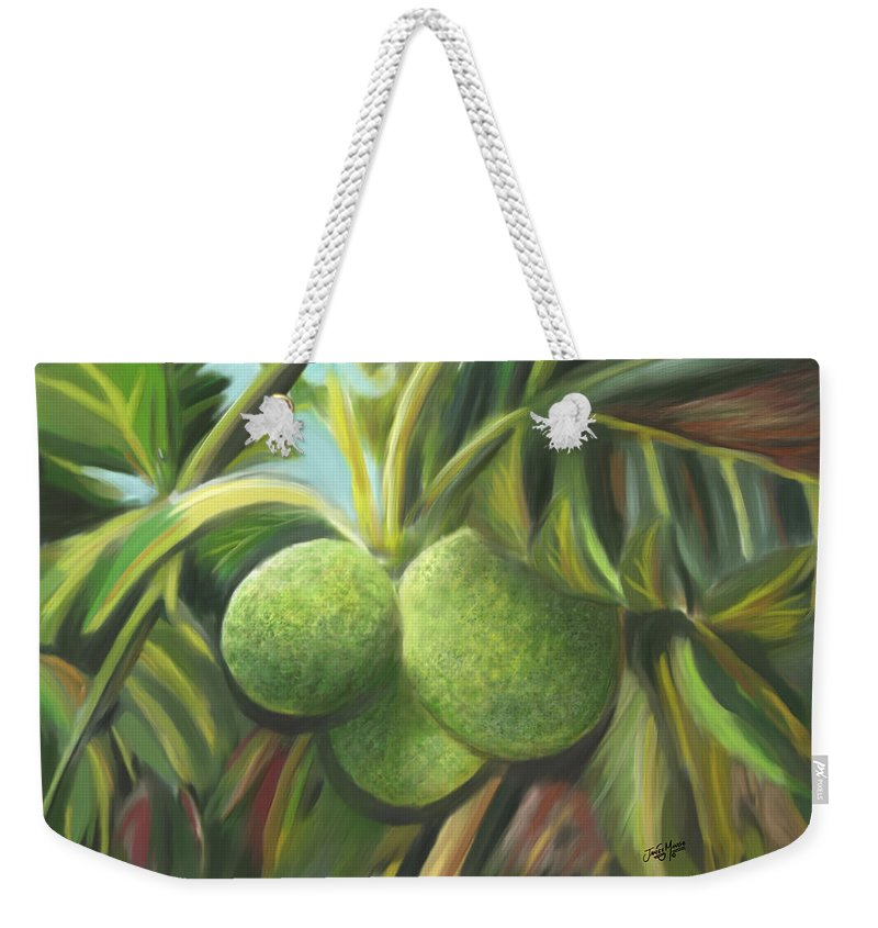 Fruit Weekender Tote Bag featuring the painting Breadfruits St Kitts by James Mingo