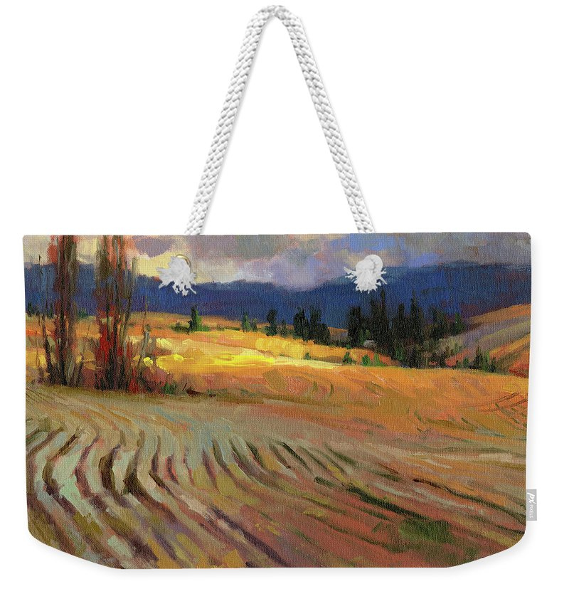 Country Weekender Tote Bag featuring the painting Break In The Weather by Steve Henderson