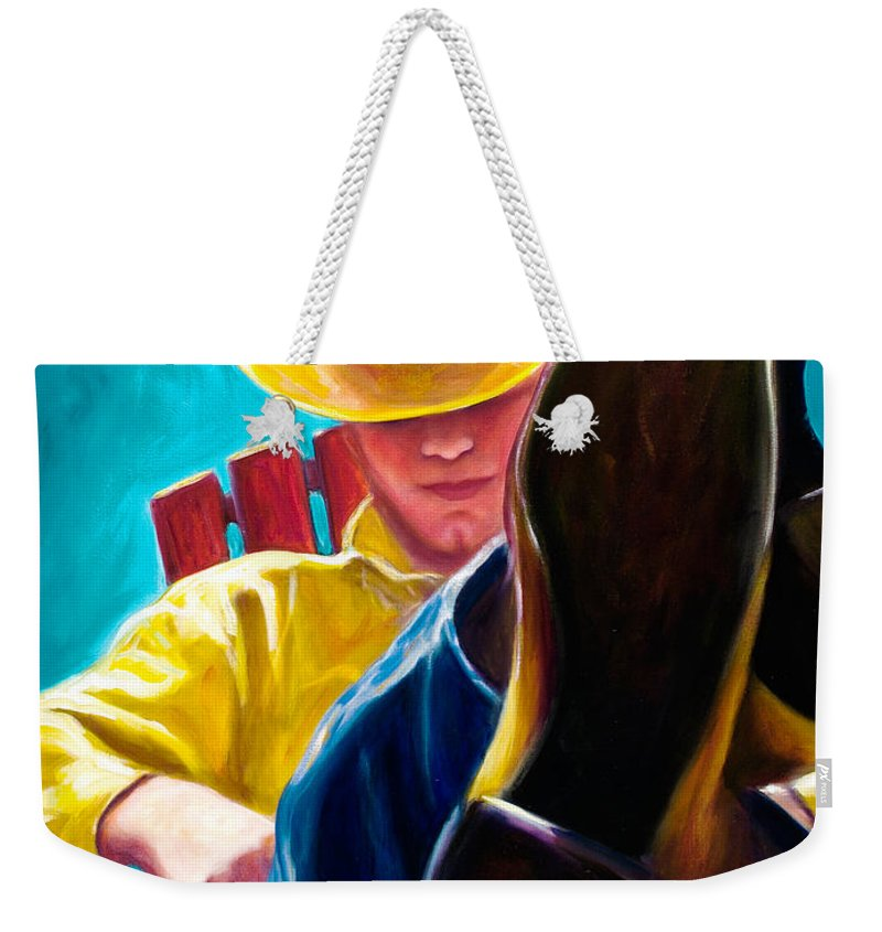 Western Weekender Tote Bag featuring the painting Break Time by Shannon Grissom