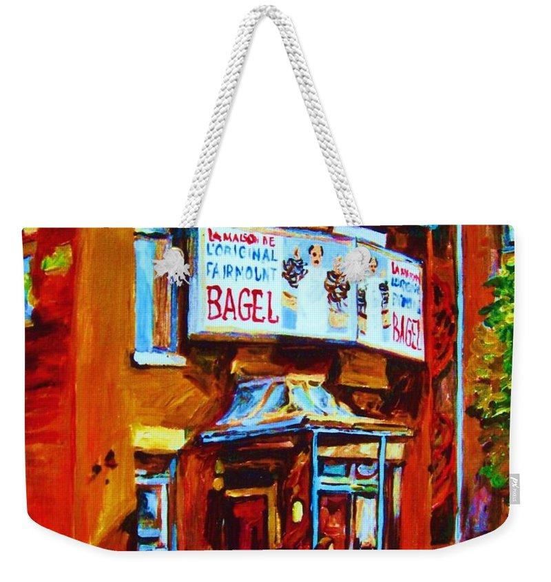 Fairmount Bagel Weekender Tote Bag featuring the painting Breakfast At The Bagel Cafe by Carole Spandau