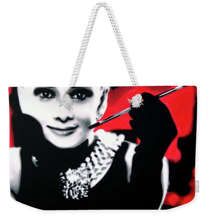 01f849b26a Audrey Hepburn Weekender Tote Bag featuring the painting Breakfast At  Tiffany's by Hood alias Ludzska