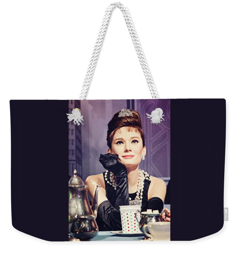 67934257df Little Black Dress Weekender Tote Bag featuring the photograph Breakfast At  Tiffany's, Old Film Effect