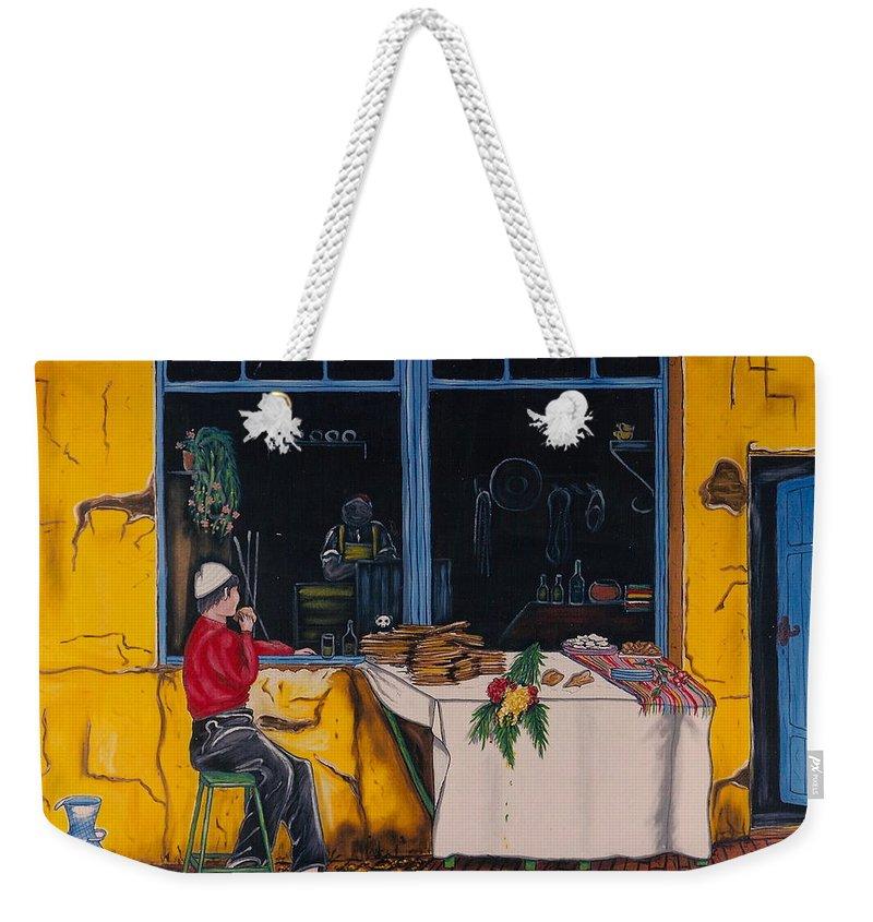 Capri Weekender Tote Bag featuring the painting Breakfast In Capri by V Boge