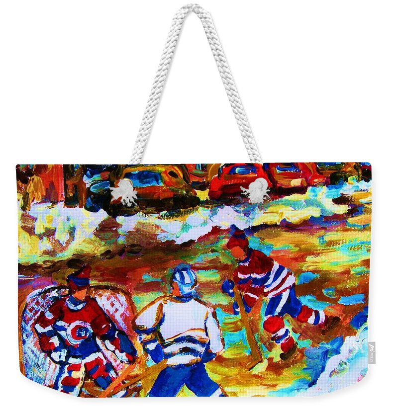 Streethockey Weekender Tote Bag featuring the painting Breaking The Ice by Carole Spandau