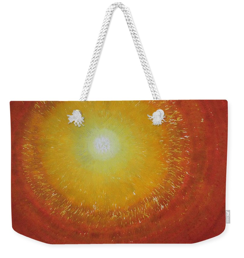 Sun Weekender Tote Bag featuring the painting Breakthrough Original Painting by Sol Luckman