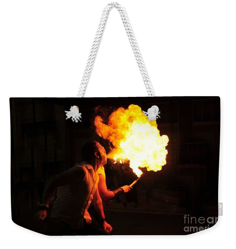 Fire Weekender Tote Bag featuring the photograph Breath Of Fire by David Lee Thompson