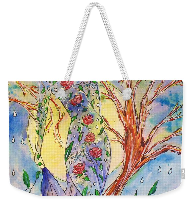 Female Figure Weekender Tote Bag featuring the painting Breath Of Life by Robin Monroe