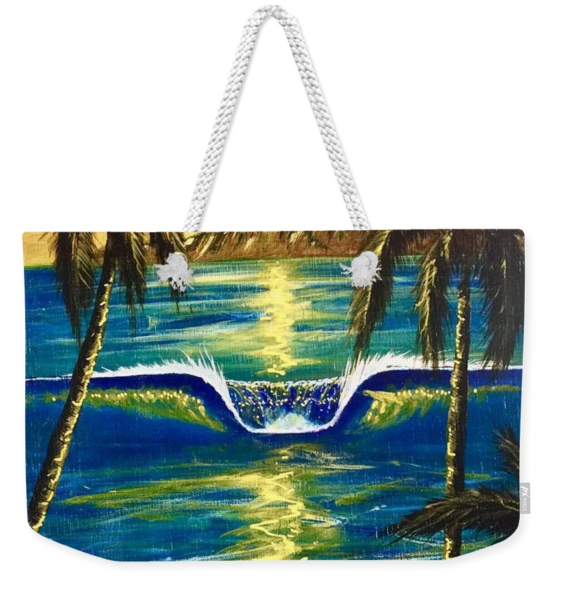 Tropical Weekender Tote Bag featuring the painting Breathe In The Moment by Paul Carter