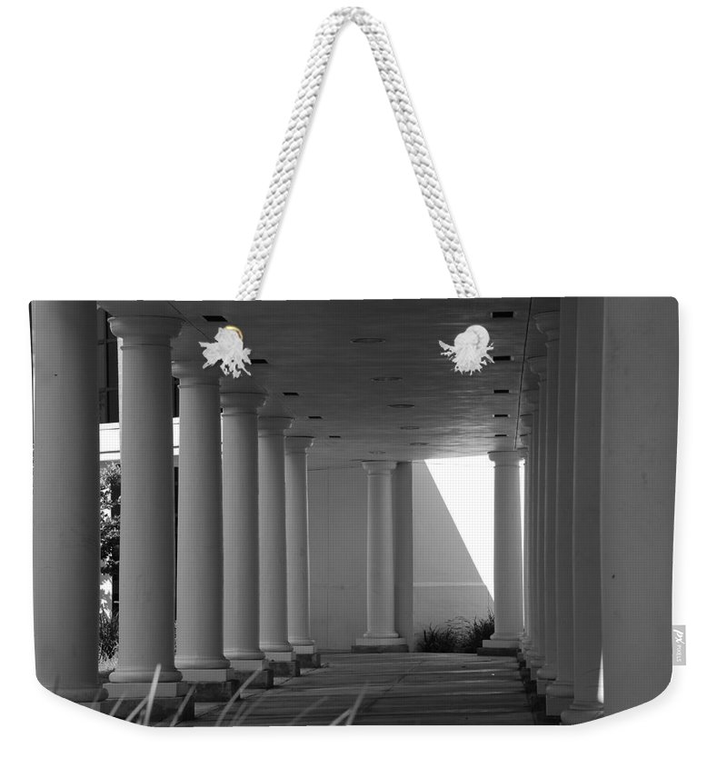 Black And White Weekender Tote Bag featuring the photograph Breezeway by Rob Hans