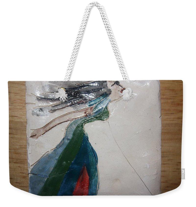 Jesus Weekender Tote Bag featuring the ceramic art Brenda - Tile by Gloria Ssali