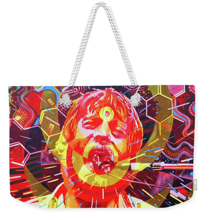Brent Mydland Weekender Tote Bag featuring the painting Brent Mydland 2 by Kevin J Cooper Artwork