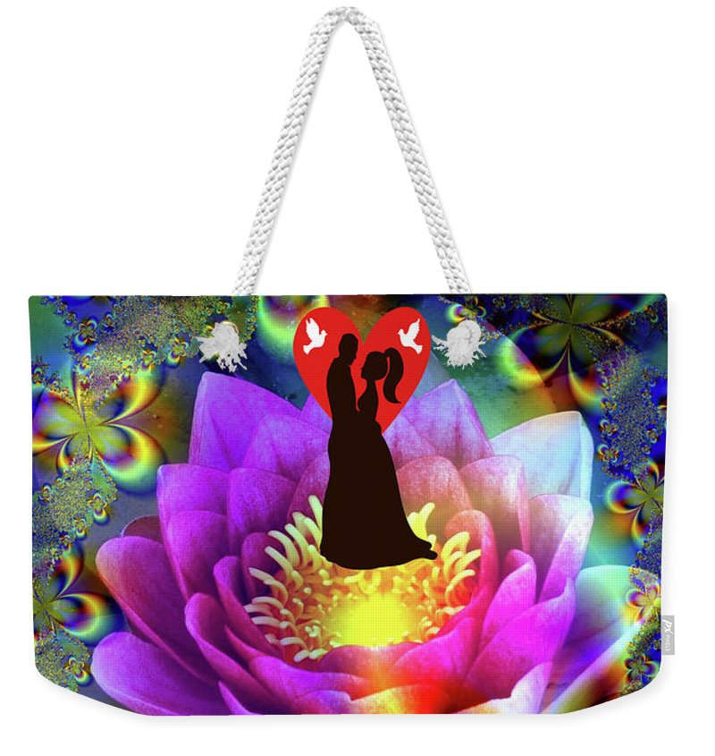Art Weekender Tote Bag featuring the digital art Brian Exton Sacred Flower Of Love Bigstock 164301632 2991949 12779828 by Mitchell Watrous