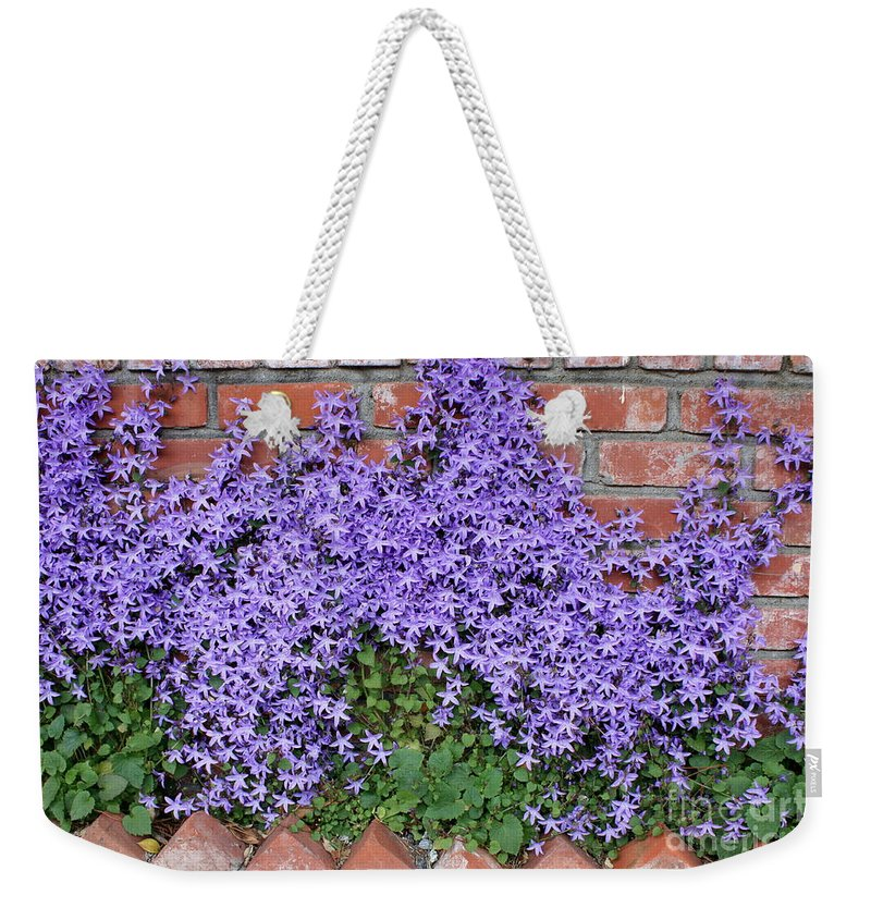 Blue Flowers Weekender Tote Bag featuring the photograph Brick Wall With Blue Flowers by Carol Groenen