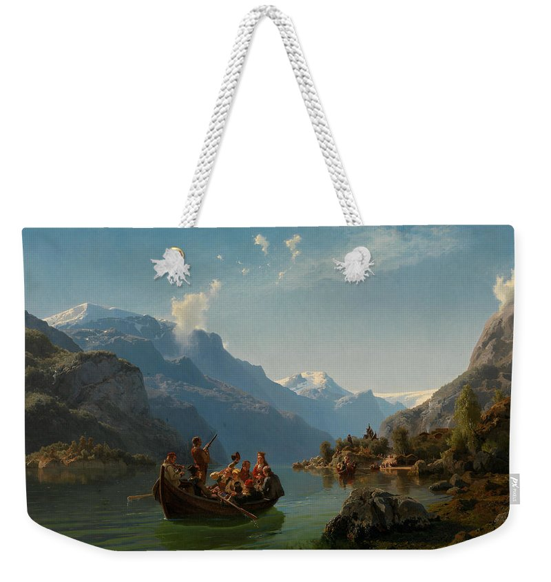 Norwegian Art Weekender Tote Bag featuring the painting Bridal Procession On The Hardangerfjord by Adolph Tidemand