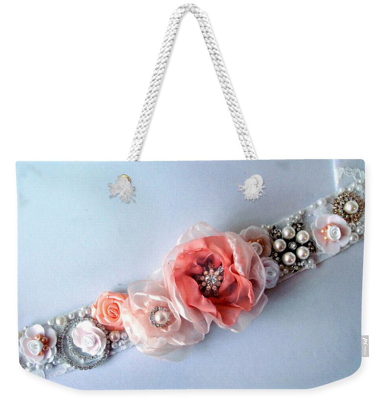 Bridal Weekender Tote Bag featuring the photograph Bridal Sash Belt With Flowers And Rhinestones by Sofia Metal Queen