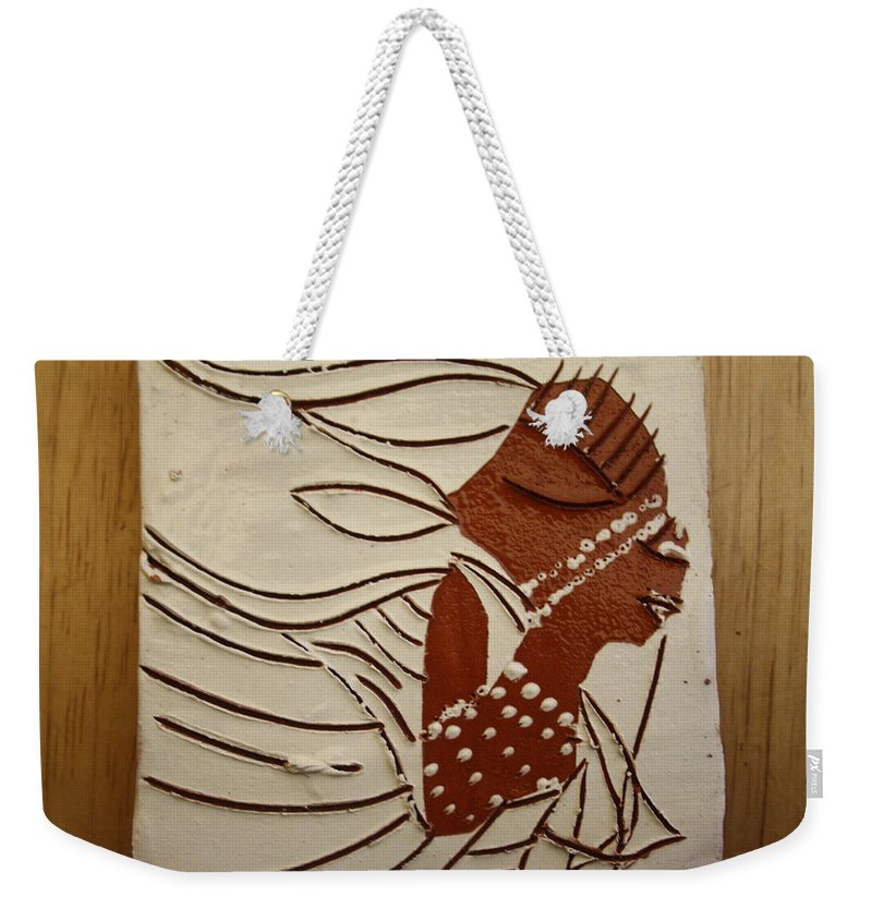 Jesus Weekender Tote Bag featuring the ceramic art Bride 11 - Tile by Gloria Ssali