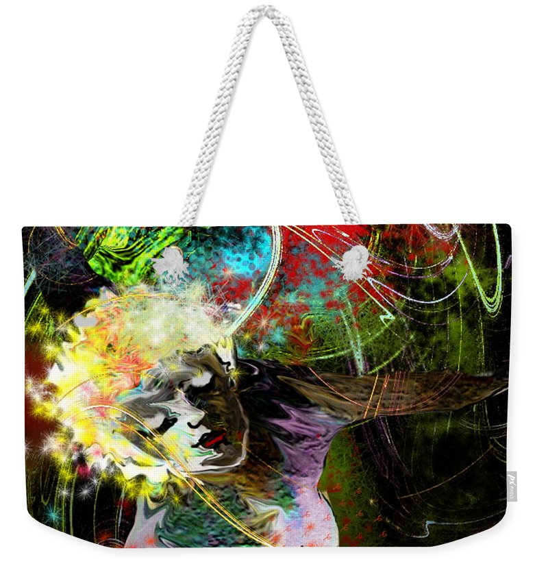 Fantasy Weekender Tote Bag featuring the painting Bride Of Halos by Miki De Goodaboom