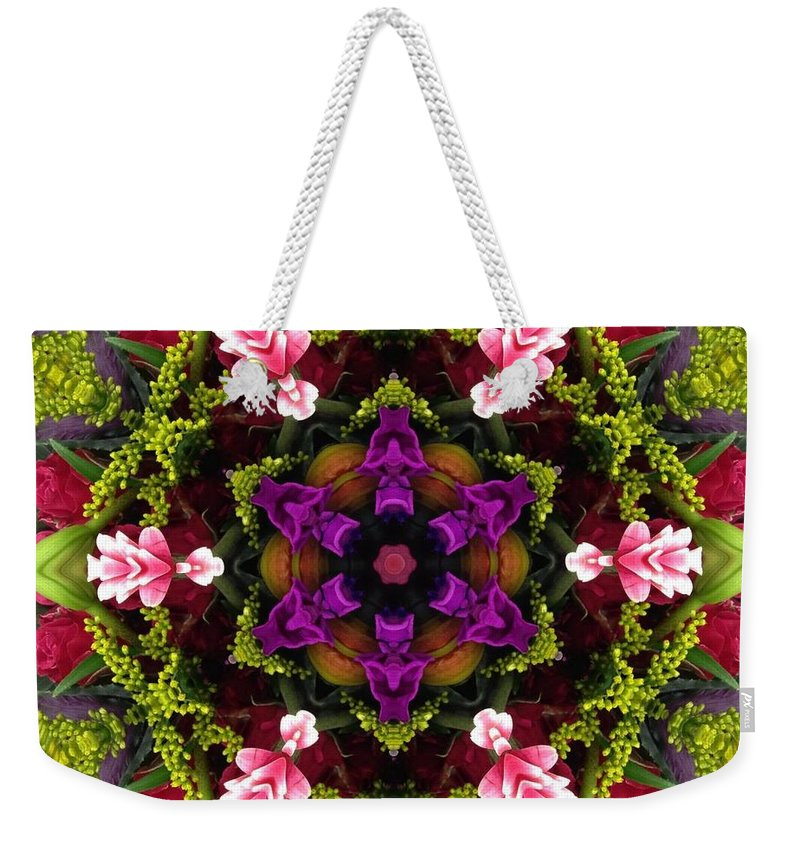Kaleidoscope Weekender Tote Bag featuring the photograph Bride's Maids Boquet Kaleidoscope by Pamela Picassito