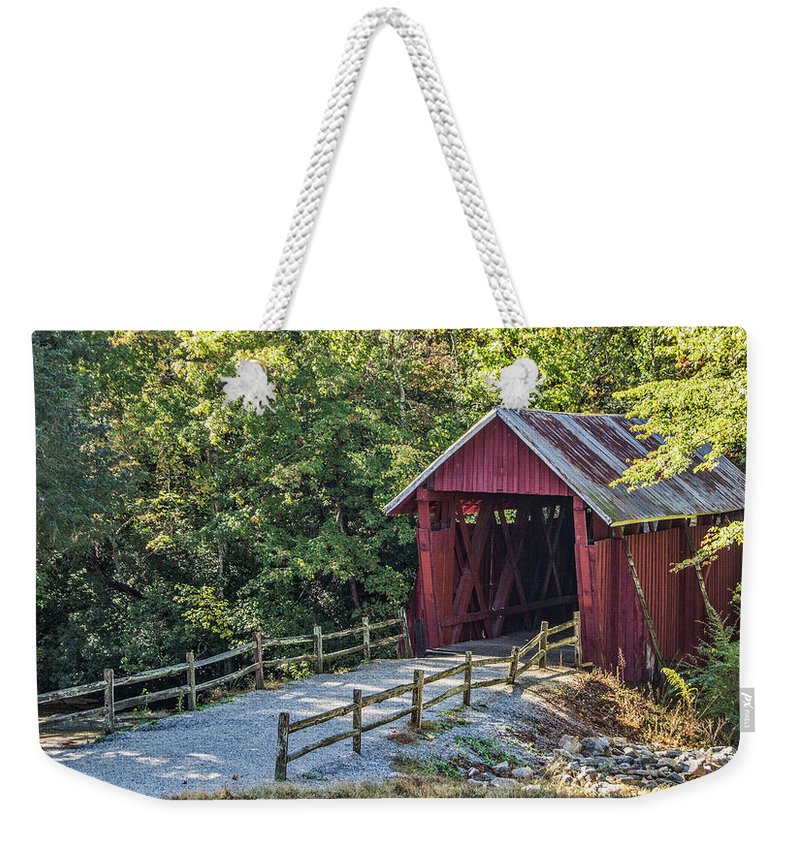 Campbell's Covered Bridge Weekender Tote Bag featuring the photograph Bridge Across Time by Patrick Moore